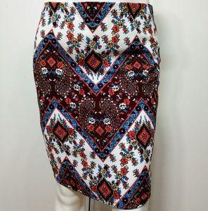 RAFFI & RO • Paisley Floral Pencil Skirt / size 3
